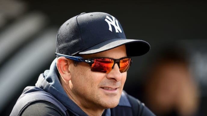 BALTIMORE, MD - MAY 22:  Manager Aaron Boone #17 of the New York Yankees watches batting practice before the game against the Baltimore Orioles at Oriole Park at Camden Yards on May 22, 2019 in Baltimore, Maryland.  (Photo by Greg Fiume/Getty Images)