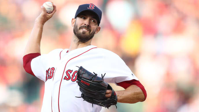 BOSTON, MA - JULY 25:  Rick Porcello #22 of the Boston Red Sox pitches in the first inning of a game against the New York Yankees at Fenway Park on July 25, 2019 in Boston, Massachusetts.  (Photo by Adam Glanzman/Getty Images)