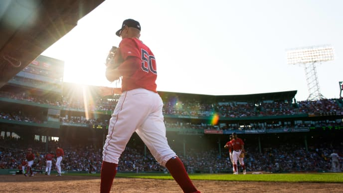 BOSTON, MA - JULY 27: Mookie Betts #50 of the Boston Red Sox makes his way back to the dugout in the sixth inning against the New York Yankees at Fenway Park on July 27, 2019 in Boston, Massachusetts. (Photo by Kathryn Riley/Getty Images)