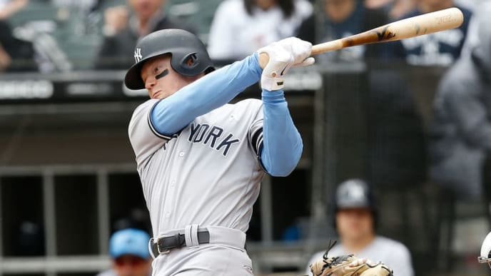 CHICAGO, ILLINOIS - JUNE 16:  Clint Frazier #77 of the New York Yankees at bat during the first inning against the Chicago White Sox at Guaranteed Rate Field on June 16, 2019 in Chicago, Illinois. (Photo by Nuccio DiNuzzo/Getty Images)
