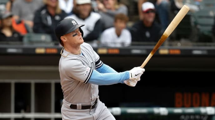 CHICAGO, ILLINOIS - JUNE 16:  Clint Frazier #77 of the New York Yankees at bat during the third inning against the Chicago White Sox at Guaranteed Rate Field on June 16, 2019 in Chicago, Illinois. (Photo by Nuccio DiNuzzo/Getty Images)