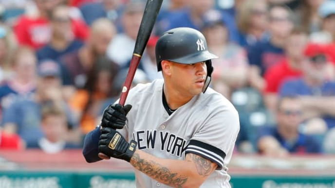CLEVELAND, OH - JUNE 08: Gary Sanchez #24 of the New York Yankees bats against the Cleveland Indiansin the seventh inning at Progressive Field on June 8, 2019 in Cleveland, Ohio. The Indians defeated the Yankees 8-4.(Photo by David Maxwell/Getty Images)