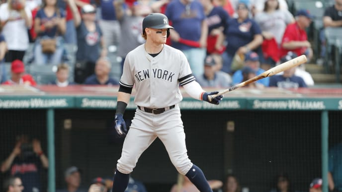 CLEVELAND, OH - JUNE 08:Clint Frazier #77 of the New York Yankees bats against the Cleveland Indiansin the ninth inning at Progressive Field on June 8, 2019 in Cleveland, Ohio. The Indians defeated the Yankees 8-4.(Photo by David Maxwell/Getty Images)