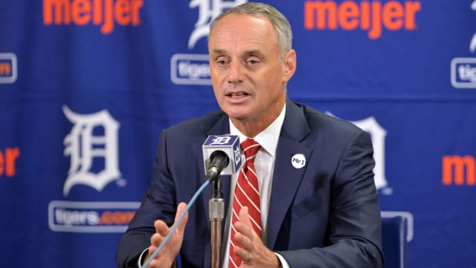 DETROIT, MI - AUGUST 22:  Major League Baseball Commissioner Rob Manfred speaks to the media during his visit to Comerica Park prior to the game between the New York Yankees and the Detroit Tigers at Comerica Park on August 22, 2017 in Detroit, Michigan. The Yankees defeated the Tigers 13-4.  (Photo by Mark Cunningham/MLB Photos via Getty Images)