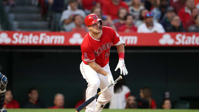 ANAHEIM, CA - APRIL 24:  Mike Trout #27 of the Los Angeles Angels bats during the game against the New York Yankees at Angel Stadium on April 24, 2019 in Anaheim, California.  The Yankees defeated the Angels 6-5.  (Photo by Rob Leiter/MLB Photos via Getty Images)