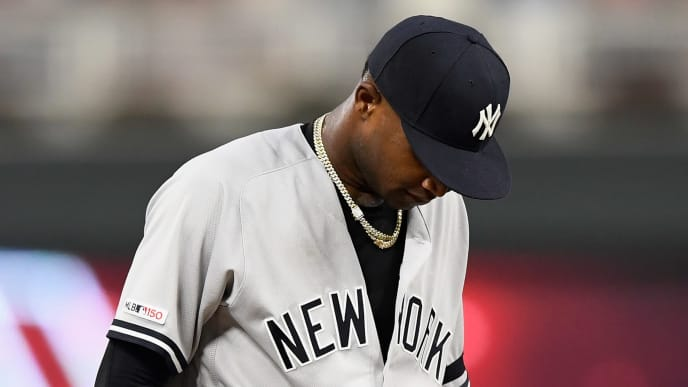 MINNEAPOLIS, MN - JULY 23: Domingo German #55 of the New York Yankees reacts to giving up a three-run home run to Miguel Sano #22 of the Minnesota Twins during the fourth inning of the game on July 23, 2019 at Target Field in Minneapolis, Minnesota. (Photo by Hannah Foslien/Getty Images)