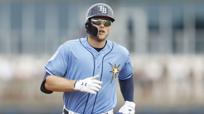 PORT CHARLOTTE, FLORIDA - FEBRUARY 24:  Austin Meadows #17 of the Tampa Bay Rays rounds the bases after hitting a solo home run in the fifth inning against the New York Yankees during the Grapefruit League spring training game at Charlotte Sports Park on February 24, 2019 in Port Charlotte, Florida. (Photo by Michael Reaves/Getty Images)
