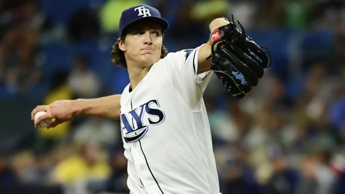 ST. PETERSBURG, FLORIDA - MAY 10: Tyler Glasnow #20 of the Tampa Bay Rays delivers a pitch in the first inning against the New York Yankees at Tropicana Field on May 10, 2019 in St. Petersburg, Florida. (Photo by Julio Aguilar/Getty Images)