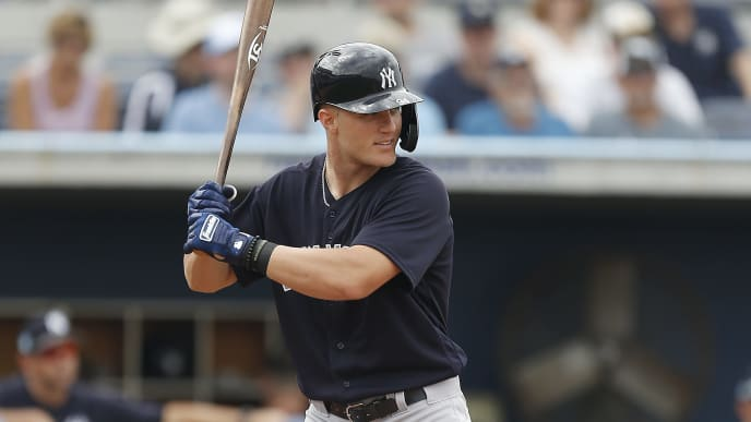 PORT CHARLOTTE, FLORIDA - FEBRUARY 24:  Trey Amburgey #94 of the New York Yankees at bat against the Tampa Bay Rays during the Grapefruit League spring training game at Charlotte Sports Park on February 24, 2019 in Port Charlotte, Florida. (Photo by Michael Reaves/Getty Images)