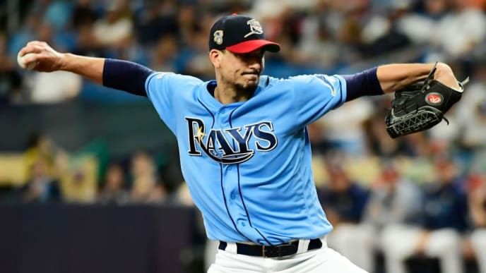 ST. PETERSBURG, FLORIDA - JULY 07:  Charlie Morton #50 of the Tampa Bay Rays delivers a pitch to the New York Yankees during the first inning of a baseball game at Tropicana Field on July 07, 2019 in St. Petersburg, Florida. (Photo by Julio Aguilar/Getty Images)