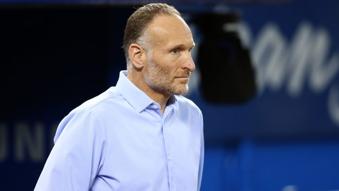 TORONTO, ON - SEPTEMBER 15:  Mark Shapiro, President and CEO of the Toronto Blue Jays looks on prior to the first inning of a MLB game against the New York Yankees at Rogers Centre on September 15, 2019 in Toronto, Canada.  (Photo by Vaughn Ridley/Getty Images)
