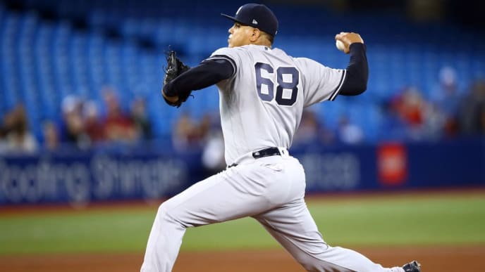 TORONTO, ON - SEPTEMBER 15:  Dellin Betances #68 of the New York Yankees delivers a pitch in the fourth inning during a MLB game against the Toronto Blue Jays at Rogers Centre on September 15, 2019 in Toronto, Canada.  (Photo by Vaughn Ridley/Getty Images)
