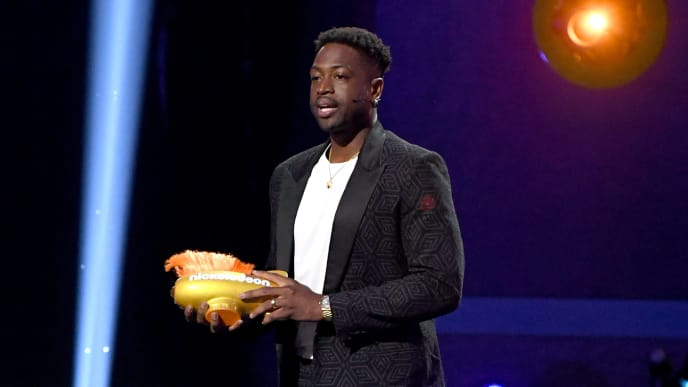 SANTA MONICA, CALIFORNIA - JULY 11: Dwyane Wade accepts the Legend Award onstage during Nickelodeon Kids' Choice Sports 2019 at Barker Hangar on July 11, 2019 in Santa Monica, California. (Photo by Kevin Winter/Getty Images)
