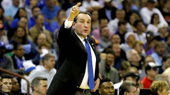 COLUMBIA, SOUTH CAROLINA - MARCH 22:  Head coach Mike Krzyzewski of the Duke Blue Devils instructs his team against the North Dakota State Bison in the first half during the first round of the 2019 NCAA Men's Basketball Tournament at Colonial Life Arena on March 22, 2019 in Columbia, South Carolina. (Photo by Kevin C.  Cox/Getty Images)