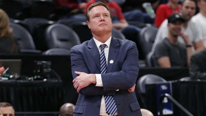 SALT LAKE CITY, UTAH - MARCH 21: Head coach Bill Self of the Kansas Jayhawks looks on during the second half against the Northeastern Huskies in the first round of the 2019 NCAA Men's Basketball Tournament at Vivint Smart Home Arena on March 21, 2019 in Salt Lake City, Utah. (Photo by Patrick Smith/Getty Images)