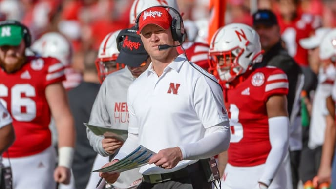 LINCOLN, NE - OCTOBER 5: Head coach Scott Frost of the Nebraska Cornhuskers watches action during the game against the Northwestern Wildcats at Memorial Stadium on October 5, 2019 in Lincoln, Nebraska. (Photo by Steven Branscombe/Getty Images)