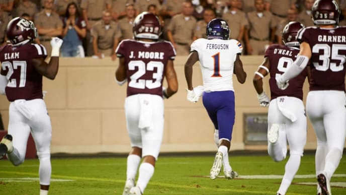 COLLEGE STATION, TX - AUGUST 30:  Jazz Ferguson #1 of the Northwestern State Demons scores a touchdown on a 71 yard reception against the Texas A&M Aggies during the second half of a football game at Kyle Field on August 30, 2018 in College Station, Texas.  (Photo by Cooper Neill/Getty Images)