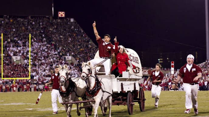 NORMAN, OK - OCTOBER 27:   Sooner Schooner of the Oklahoma Sooners celebrates after a touchdown against the Notre Dame Fighting Irish at Gaylord Family Oklahoma Memorial Stadium on October 27, 2012 in Norman, Oklahoma.  The Fighting Irish defeated the Sooners 30-13.  (Photo by Wesley Hitt/Getty Images)