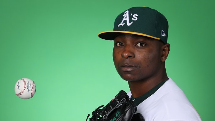 MESA, ARIZONA - FEBRUARY 19:  Pitcher Jharel Cotton #45 of the Oakland Athletics poses for a portrait during photo day at HoHoKam Stadium on February 19, 2019 in Mesa, Arizona. (Photo by Christian Petersen/Getty Images)