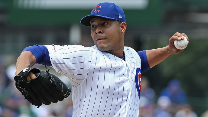 CHICAGO, ILLINOIS - AUGUST 07: Starting pitcher Jose Quintana #62 of the Chicago Cubs delivers the ball against the Oakland Athletics at Wrigley Field on August 07, 2019 in Chicago, Illinois. (Photo by Jonathan Daniel/Getty Images)