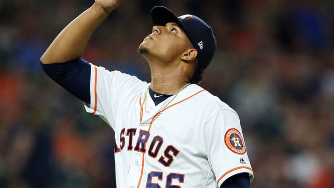 HOUSTON, TEXAS - SEPTEMBER 09: Bryan Abreu #66 of the Houston Astros reacts during a pitch in the eighth inning against the Oakland Athletics at Minute Maid Park on September 09, 2019 in Houston, Texas. (Photo by Bob Levey/Getty Images)