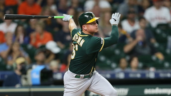 HOUSTON, TEXAS - SEPTEMBER 10: Matt Chapman #26 of the Oakland Athletics lines out to  center in the first inning against the Houston Astros at Minute Maid Park on September 10, 2019 in Houston, Texas. (Photo by Bob Levey/Getty Images)