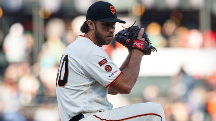 SAN FRANCISCO, CA - AUGUST 13: Madison Bumgarner #40 of the San Francisco Giants pitches against the Oakland Athletics during the first inning at Oracle Park on August 13, 2019 in San Francisco, California. The San Francisco Giants defeated the Oakland Athletics 3-2. (Photo by Jason O. Watson/Getty Images)