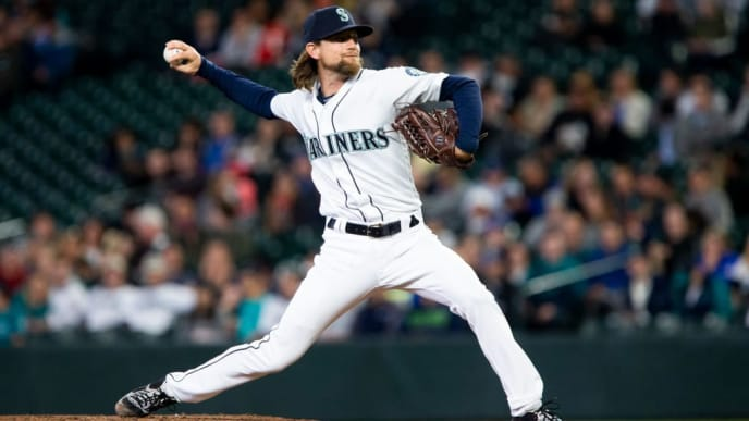 SEATTLE, WA - MAY 14: Mike Leake #8 of the Seattle Mariners delivers against the Oakland Athletics in the second inning at T-Mobile Park on May 14, 2019 in Seattle, Washington. (Photo by Lindsey Wasson/Getty Images)