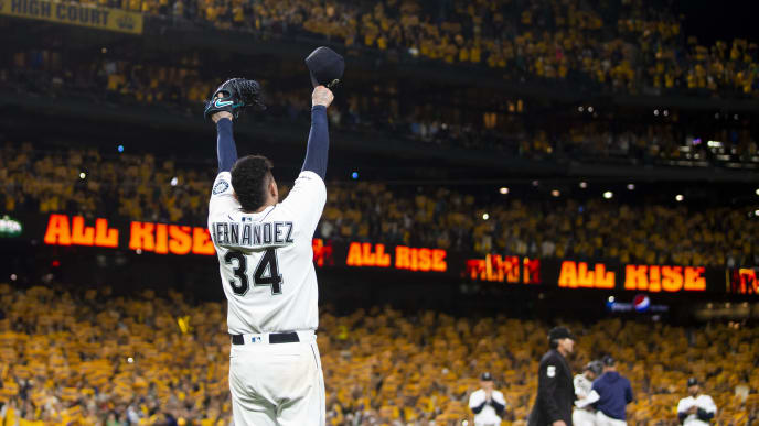 SEATTLE, WA - SEPTEMBER 26:  Felix Hernandez #34 of the Seattle Mariners acknowledges cheering fans as he is taken out of the game during his last game with the Seattle Mariners in the sixth inning against the Oakland Athletics at T-Mobile Park on September 26, 2019 in Seattle, Washington. (Photo by Lindsey Wasson/Getty Images)