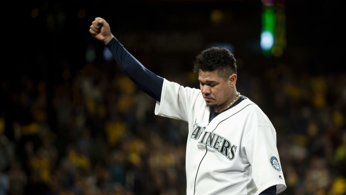 SEATTLE, WA - SEPTEMBER 26:  Felix Hernandez #34 of the Seattle Mariners waves to fans after being taken out of the game in the sixth inning at T-Mobile Park on September 26, 2019 in Seattle, Washington. The Oakland Athletics won 3-1. (Photo by Lindsey Wasson/Getty Images)