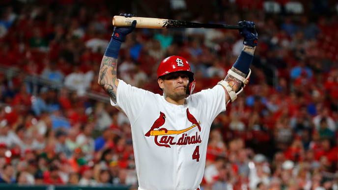 ST LOUIS, MO - JUNE 25: Yadier Molina #4 of the St. Louis Cardinals returns to the dugout after striking out against the Oakland Athletics in the fifth inning at Busch Stadium on June 25, 2019 in St Louis, Missouri. (Photo by Dilip Vishwanat/Getty Images)