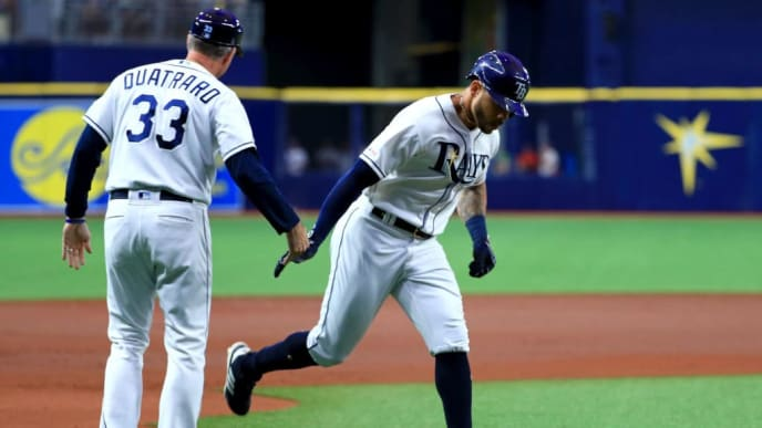 ST PETERSBURG, FLORIDA - JUNE 11: Tommy Pham #29 of the Tampa Bay Rays is congratulated after hitting a home run in the first inning during a game against the Oakland Athletics at Tropicana Field on June 11, 2019 in St Petersburg, Florida. (Photo by Mike Ehrmann/Getty Images)