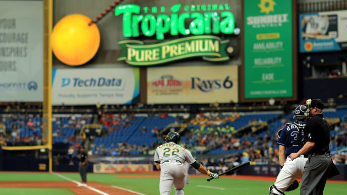 ST PETERSBURG, FLORIDA - JUNE 12: Ramon Laureano #22 of the Oakland Athletics hits a grand slam in the eighth inning during a game against the Tampa Bay Rays at Tropicana Field on June 12, 2019 in St Petersburg, Florida. (Photo by Mike Ehrmann/Getty Images)