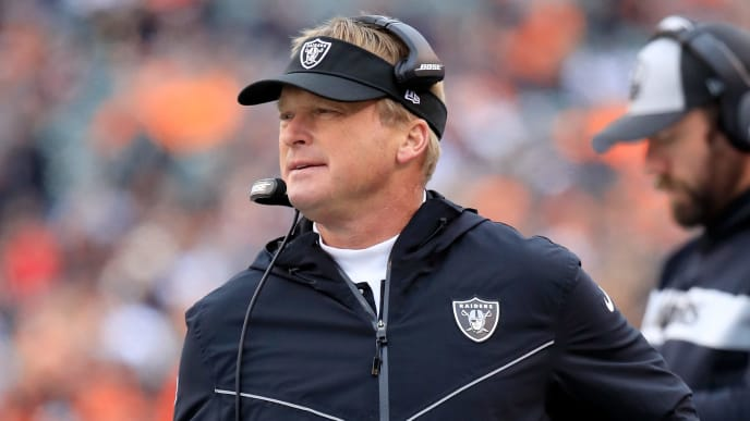 CINCINNATI, OH - DECEMBER 16:  Jon Gruden the head coach of the Oakland Raiders  watches the action against the Cincinnati Bengals at Paul Brown Stadium on December 16, 2018 in Cincinnati, Ohio.  (Photo by Andy Lyons/Getty Images)