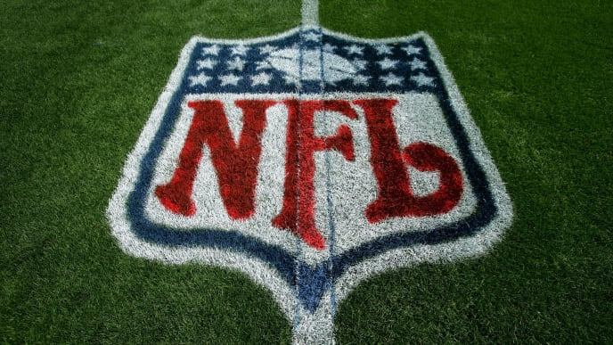 DENVER - SEPTEMBER 16:  The logo of the National Football League is painted on the field as the Oakland Raiders face the Denver Broncos during week two NFL action at Invesco Field at Mile High on September 16, 2007 in Denver, Colorado.  (Photo by Doug Pensinger/Getty Images)