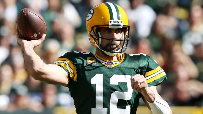 GREEN BAY, WISCONSIN - OCTOBER 20: Aaron Rodgers #12 of the Green Bay Packers throws a pass during the first half against the Oakland Raiders in the game at Lambeau Field on October 20, 2019 in Green Bay, Wisconsin. (Photo by Dylan Buell/Getty Images)