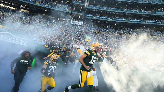 GREEN BAY, WISCONSIN - OCTOBER 20:  Aaron Rodgers #12 of the Green Bay Packers takes the field prior to a game against the Oakland Raiders at Lambeau Field on October 20, 2019 in Green Bay, Wisconsin.  The Packers defeated the Raiders 42-24.  (Photo by Stacy Revere/Getty Images)
