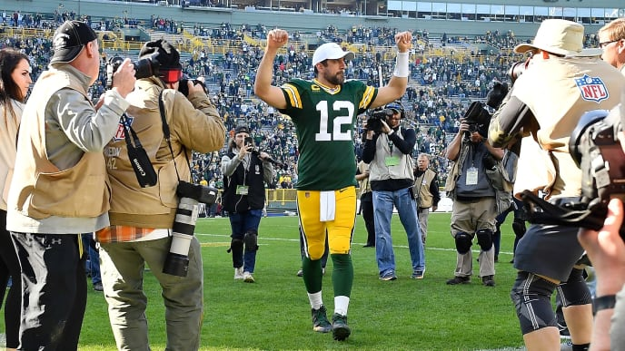 GREEN BAY, WISCONSIN - OCTOBER 20: Aaron Rodgers #12 of the Green Bay Packers reacts after the game against the Oakland Raiders at Lambeau Field on October 20, 2019 in Green Bay, Wisconsin. (Photo by Quinn Harris/Getty Images)