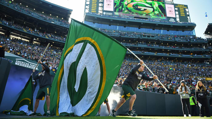 GREEN BAY, WISCONSIN - OCTOBER 20:  Members of the Green Bay Packers cheer squad take the field prior to a game against the Oakland Raiders at Lambeau Field on October 20, 2019 in Green Bay, Wisconsin.  The Packers defeated the Raiders 42-24.  (Photo by Stacy Revere/Getty Images)
