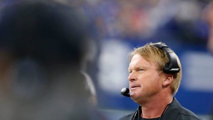 INDIANAPOLIS, INDIANA - SEPTEMBER 29: Head coach Jon Gruden of the Oakland Raiders looks on from the sideline during game against the Indianapolis Colts at Lucas Oil Stadium on September 29, 2019 in Indianapolis, Indiana. (Photo by Justin Casterline/Getty Images)