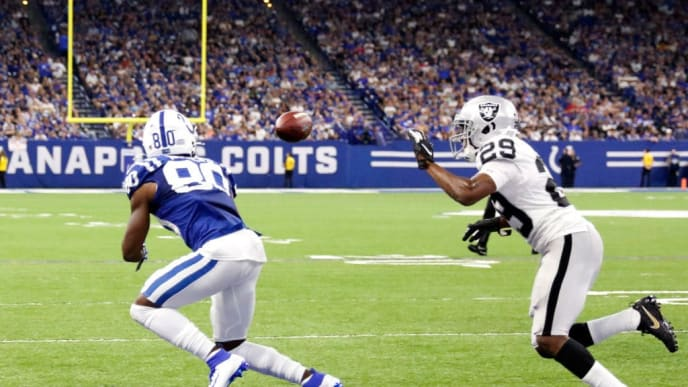 INDIANAPOLIS, INDIANA - SEPTEMBER 29: Chester Rogers #80 of the Indianapolis Colts catches a touchdown pass during the fourth quarter against the Oakland Raiders at Lucas Oil Stadium on September 29, 2019 in Indianapolis, Indiana. (Photo by Justin Casterline/Getty Images)