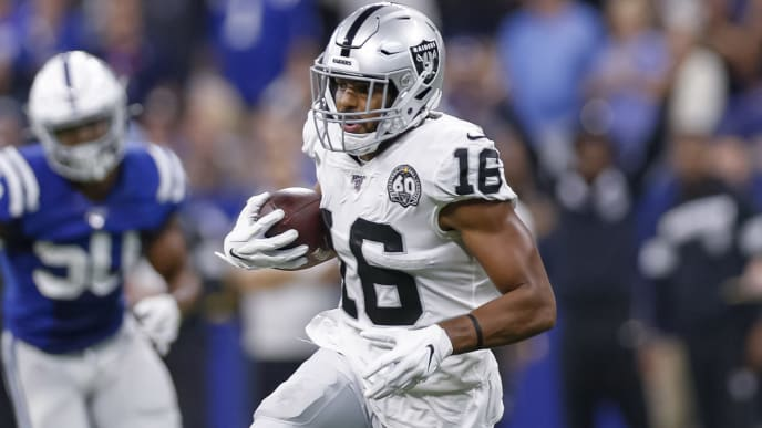 INDIANAPOLIS, IN - SEPTEMBER 29: Tyrell Williams #16 of the Oakland Raiders runs the ball during the game against the Indianapolis Colts at Lucas Oil Stadium on September 29, 2019 in Indianapolis, Indiana. (Photo by Michael Hickey/Getty Images)