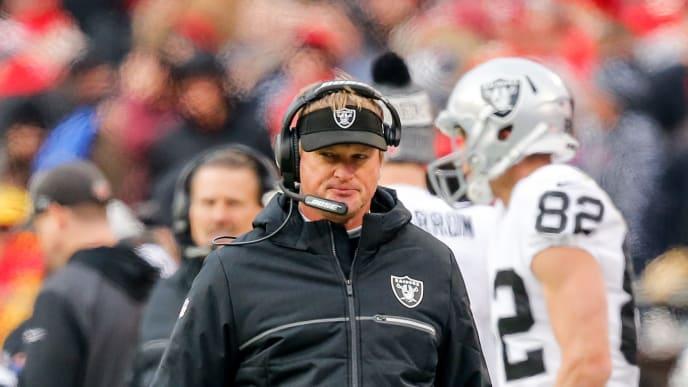 KANSAS CITY, MO - DECEMBER 30: Head coach Jon Gruden of the Oakland Raiders scowls after his team had an interception returned for a touchdown against them during the first quarter of the game against the Kansas City Chiefs at Arrowhead Stadium on December 30, 2018 in Kansas City, Missouri. (Photo by David Eulitt/Getty Images)