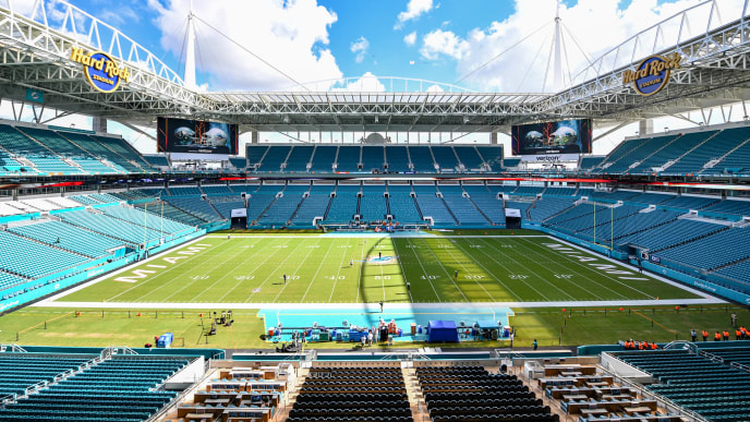 MIAMI, FL - SEPTEMBER 23: A detail view of Hard Rock Stadium before the game between the Miami Dolphins and the Oakland Raiders on September 23, 2018 in Miami, Florida. (Photo by Mark Brown/Getty Images)