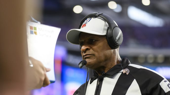 MINNEAPOLIS, MN - SEPTEMBER 22: Referee Jerome Boger checks the replay system before the game between the Oakland Raiders and Minnesota Vikings at U.S. Bank Stadium on September 22, 2019 in Minneapolis, Minnesota. (Photo by Stephen Maturen/Getty Images)