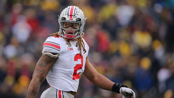 ANN ARBOR, MI - NOVEMBER 30: Chase Young #2 of the Ohio State Buckeyes looks to the sidelines during the third quarter of the game against the Michigan Wolverines at Michigan Stadium on November 30, 2019 in Ann Arbor, Michigan. Ohio State defeated Michigan 56-27. (Photo by Leon Halip/Getty Images)