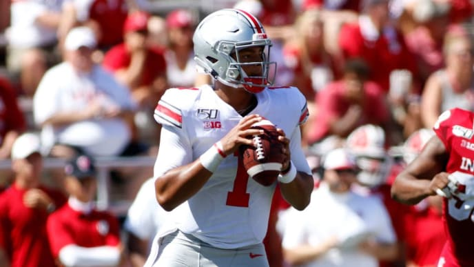 BLOOMINGTON, INDIANA - SEPTEMBER 14: Justin Fields #1 of the Ohio State Buckeyes throws a pass in the game against the Indiana Hoosiers during the second quarter at Memorial Stadium on September 14, 2019 in Bloomington, Indiana. (Photo by Justin Casterline/Getty Images)