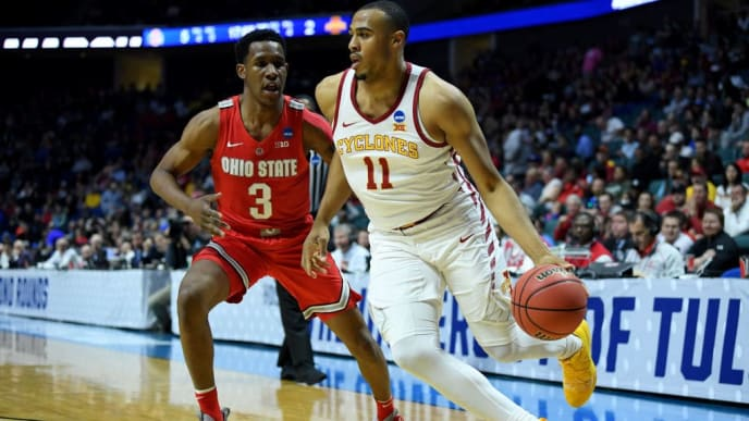 TULSA, OKLAHOMA - MARCH 22: Talen Horton-Tucker #11 of the Iowa State Cyclones drives to the basket against C.J. Jackson #3 of the Iowa State Cyclones during the first half in the first round game of the 2019 NCAA Men's Basketball Tournament at BOK Center on March 22, 2019 in Tulsa, Oklahoma. (Photo by Harry How/Getty Images)