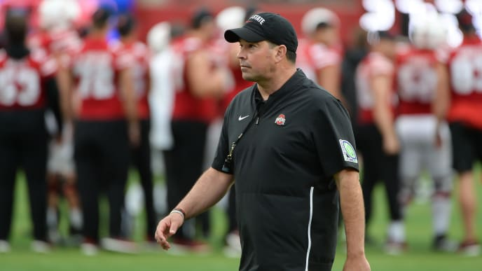 LINCOLN, NE - SEPTEMBER 28: Head coach Ryan Day of the Ohio State Buckeyes on the field before the game against the Nebraska Cornhuskers at Memorial Stadium on September 28, 2019 in Lincoln, Nebraska. (Photo by Steven Branscombe/Getty Images)