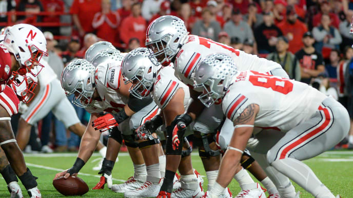 LINCOLN, NE - SEPTEMBER 28: Center Josh Myers #71 of the Ohio State Buckeyes readies to snap the ball against the Nebraska Cornhuskers at Memorial Stadium on September 28, 2019 in Lincoln, Nebraska. (Photo by Steven Branscombe/Getty Images)